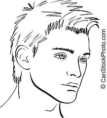 sketch., gezicht, vector, ontwerpen basis, man