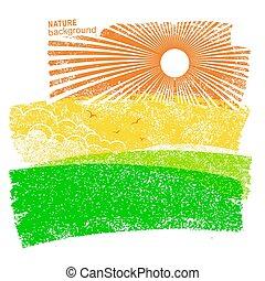 sky., velden, natuur, achtergrond, zon, landscape