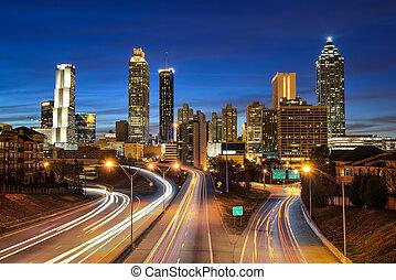 skyline, downtown, atlanta