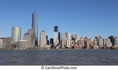 skyline, manhattan, stad, york, nieuw
