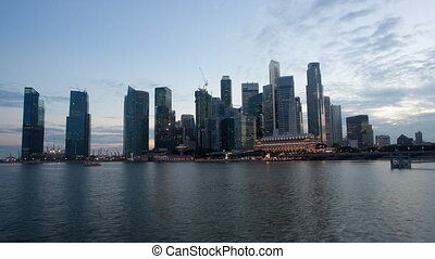 skyline, singapore, video, scène, nacht