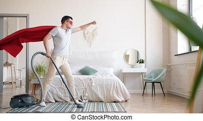 slaapkamer, poetsen, kostuum, tapijt, vacuüm, superman, thuis, kerel, reinigingsmachine
