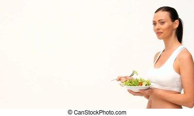 slaatje, bruin-haired, eten, vrouw