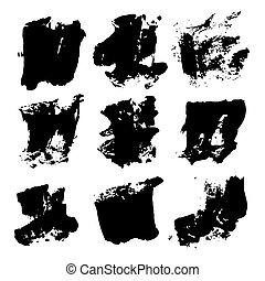 slagen, groot, abstract, vrijstaand, black , borstel, achtergrond, textured, witte