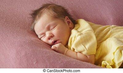 slapende, baby, pasgeboren, schattige