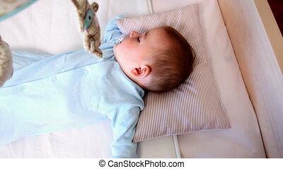 slapende, wiegje, jongen, baby