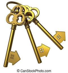sleutels, gouden, bos, house-shape