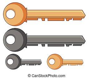 sleutels, gouden, zilver