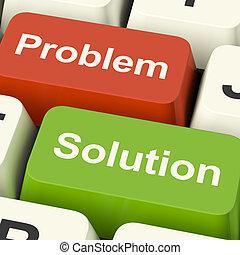 sleutels, hulp, het oplossen, oplossing, computer, online, probleem, optredens