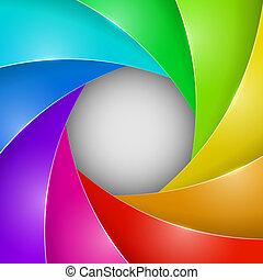 sluiter, foto, abstract, kleurrijke, opening