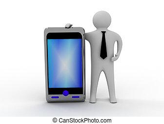 smartphone, 3d, man