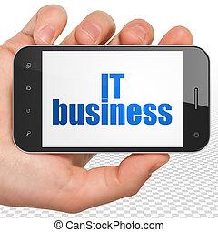 smartphone, financiën, zakelijk, informatietechnologie, hand houdend, display, concept:
