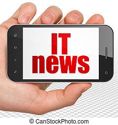 smartphone, informatietechnologie, hand houdend, nieuws, display, concept:
