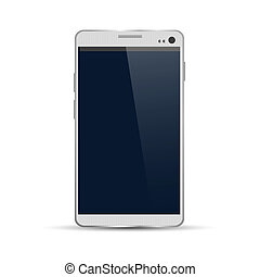smartphone, moderne, vrijstaand, illustratie, vector, achtergrond, witte