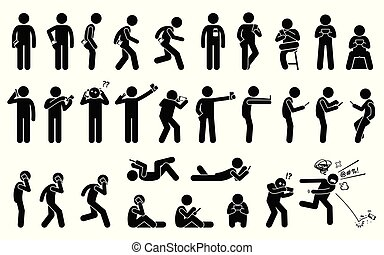 smartphone, of, vasthouden, gebruik, basis, telefoon, anders, man, positie, verdragend, postures.
