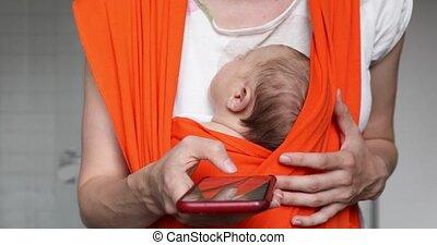 smartphone, slinger, oogst, vasthouden, moeder, baby