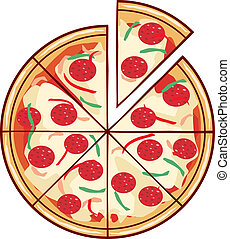 snede, illustratie, pizza