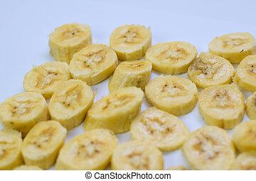 snede, vrijstaand, gele, op, achtergrond, afsluiten, witte , banaan