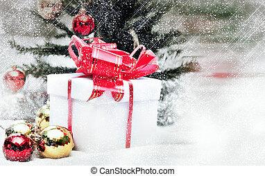 sneeuw, geest, kerstmis