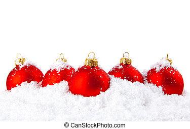 sneeuw, kommen, versiering, witte , vakantie, kerstmis, rood