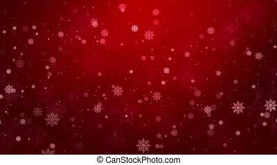 sneeuw, rood, beautifully, partikels, geanimeerd, winter, kerstmis, het vallen, achtergrond