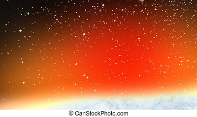 sneeuw, rood, lus