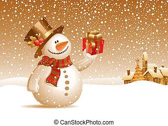 sneeuwpop, cadeau, -, illustratie, vector, het glimlachen, kerstmis, landscape