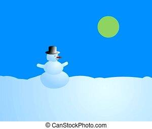 sneeuwpop, het veranderen, -, jaargetijden