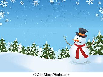 sneeuwpop, landscape, winter