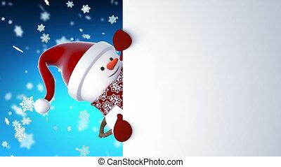 sneeuwpop, mooi, concept, kerstman, jaar, gekke , card., het glimlachen., animatie, nieuw, kerstmis, 1920x1080, vrolijke , volle, claus, screen., vrolijk, handen, spotprent, hd, geanimeerd, pet, groet, groene, 3d