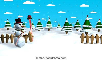 sneeuwpop, stok, hemel, scène, middelbare , het slaken, aanrakingen, wanneer, animatie, bos, hoedje, kerstmis, 3d, zijn, informatietechnologie, achtergrond, hij, wolken, boompje, versuikeren, stars.