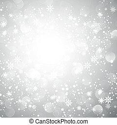 sneeuwvlok, kerstmis, achtergrond, zilver