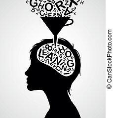 snel, silhouette, leren
