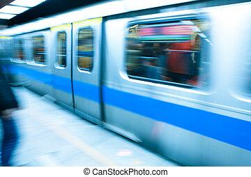snelheid, reizen, trein, hoog, metro