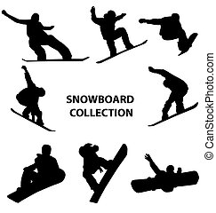 snowboard, silhouettes, verzameling