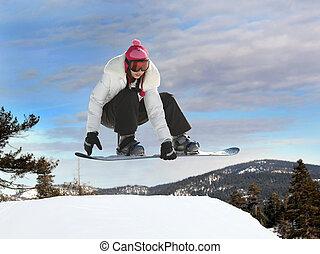 snowboarden, meisje