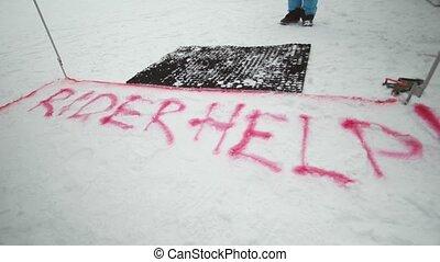 snowboarder, contest., besneeuwd, mountain., resort., challenge., competitie, mark, verpulveren, trail., ski, rood