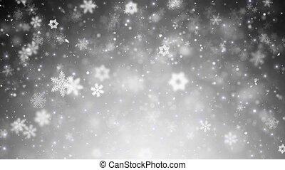 snowflakes, kerstmis, achtergrond, sterretjes, witte , het vallen, winter