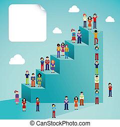 sociaal, globaal, groei, netwerk, mensen