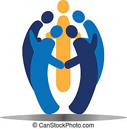 sociaal, logo, vector, teamwork, mensen