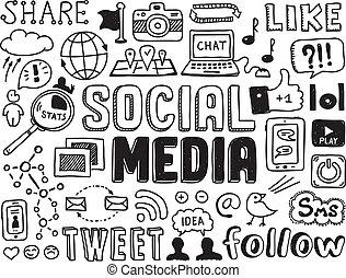 sociaal, media, communie, doodles