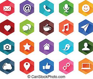 sociaal, plat, media, iconen