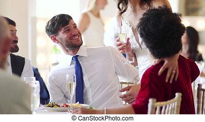 socialising, hun, paar, trouwfeest