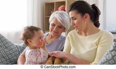 sofa, moeder, thuis, dochter, grootmoeder