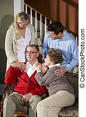 sofa, paar, volwassene, thuis, senior, kinderen