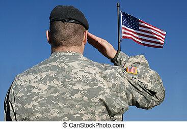 soldaat, vlag, salutes