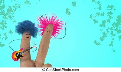 song., shaggy, liefde, joke., valentines, punker, color., haar, vinger, zingen, dag, man