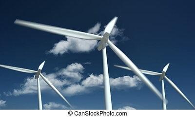 source., boerderij, -, energie, turbines, alternatief, wind