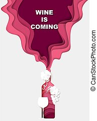 spandoek, typografie, vector, fles, knippen, druiven, komst, poster, mal, glas, gespetter, rood, illustration., papier, wijntje