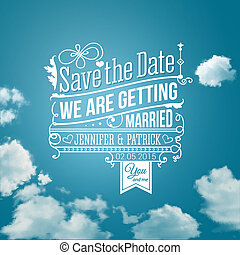 sparen, holiday., image., trouwfeest, invitation., vector, persoonlijk, datum